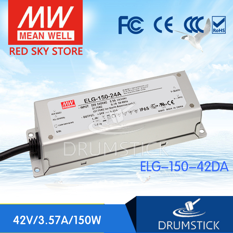 MEAN WELL ELG-150-42DA 42V 3.57A meanwell ELG-150 42V 150W Single Output LED Driver Power Supply DA type mean well hvgc 150 350a 42 428v 350ma meanwell hvgc 150 149 8w singleoutput led driver power supply a type