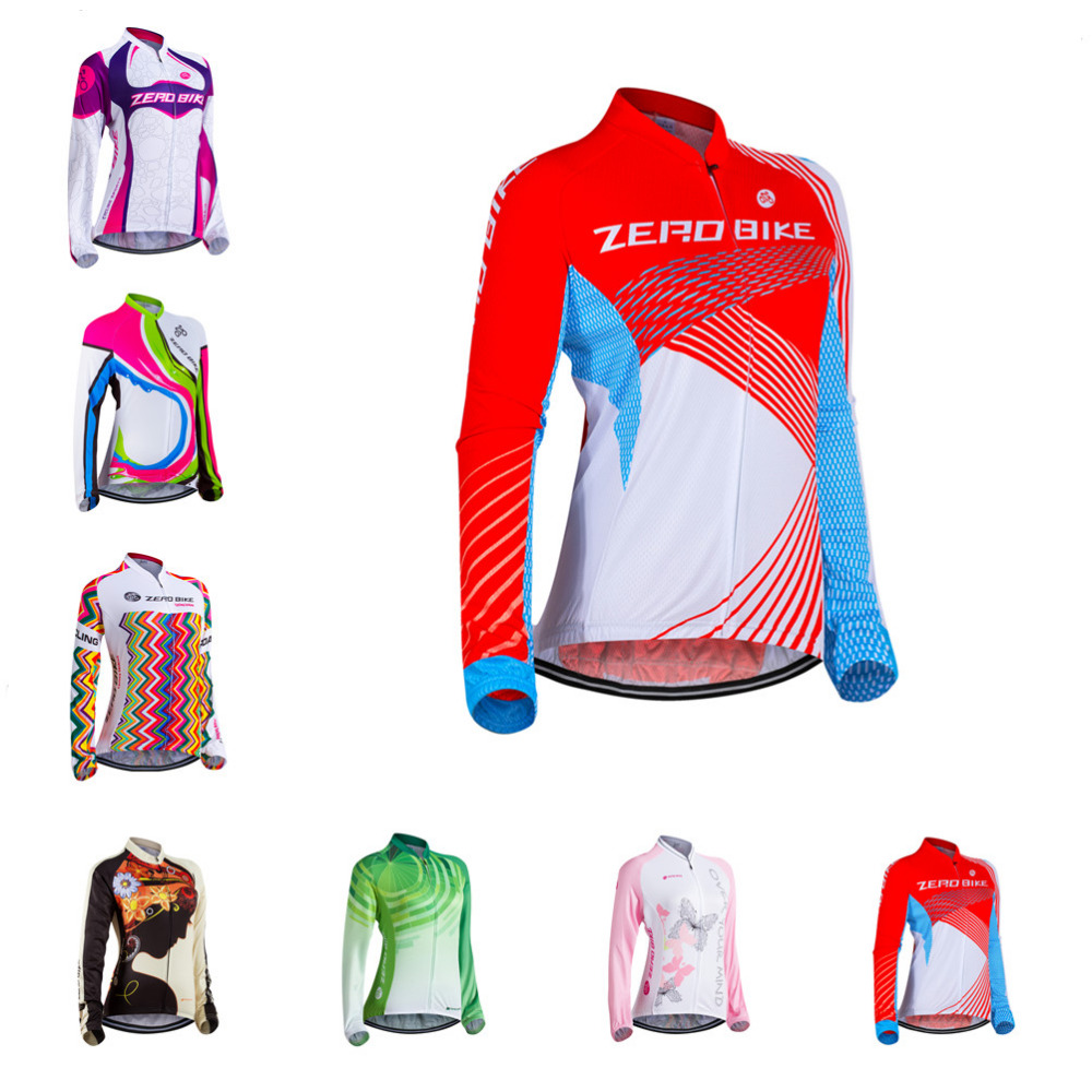 ZEROBIKE Spring Autumn Women s Long Sleeve Cycling Jersey 100%Polyester Outdoor Sports Bike Clothing Ropa Ciclismo US Size S XL