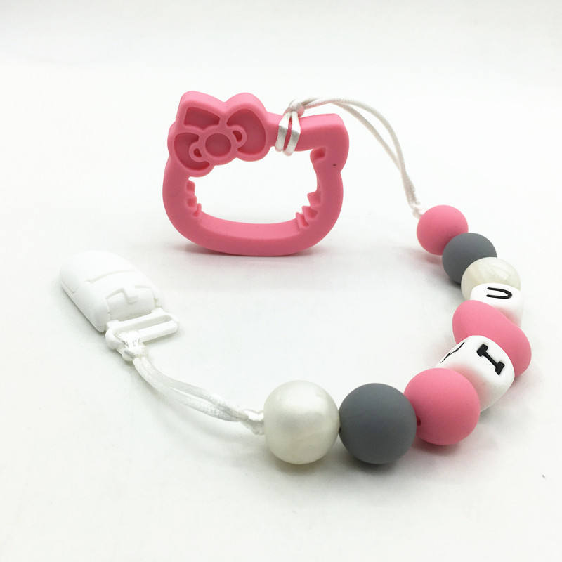 beads silicone pacifier clip neaklace with hello kitty teether silicone heart beads neacklace BPA Free for teething baby