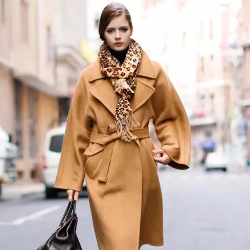 Laine J9214 En 2018 D'hiver Noir Mode Nouveau Manteau Collar Avec Ceinture Femmes Vrac camel Turn down wqqAx