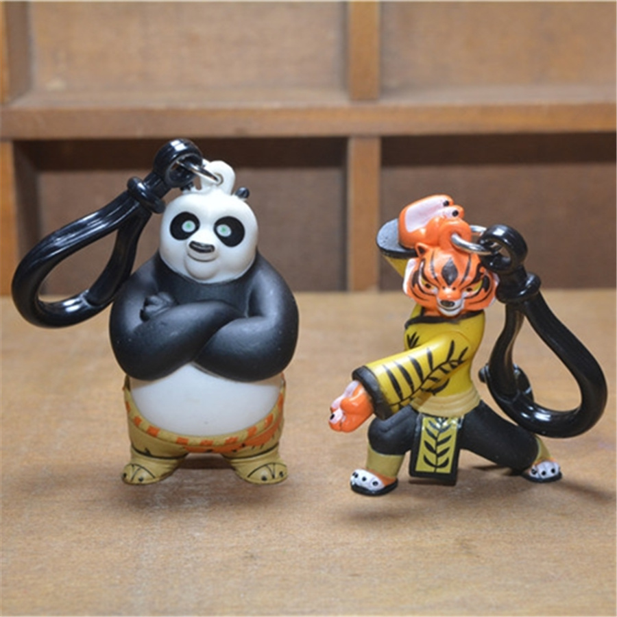 2pcs/lot 4.5cm Kungfu Kung Fu Panda 3 Panda Po and Tigress Doll Action Figure Kids Toys pendant figures