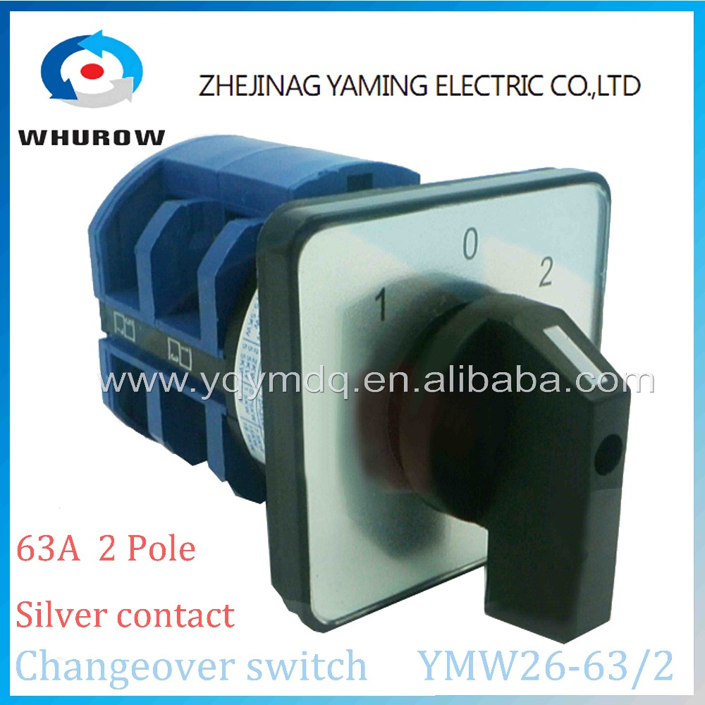 Rotary switch 3 postion 690V 63A 2 pole 8 terminal YMW26-63/2 universal switch changeover cam main switch silver contact blue ac 380v 63a 3 pole 2 knife switch circuit control opening load switch