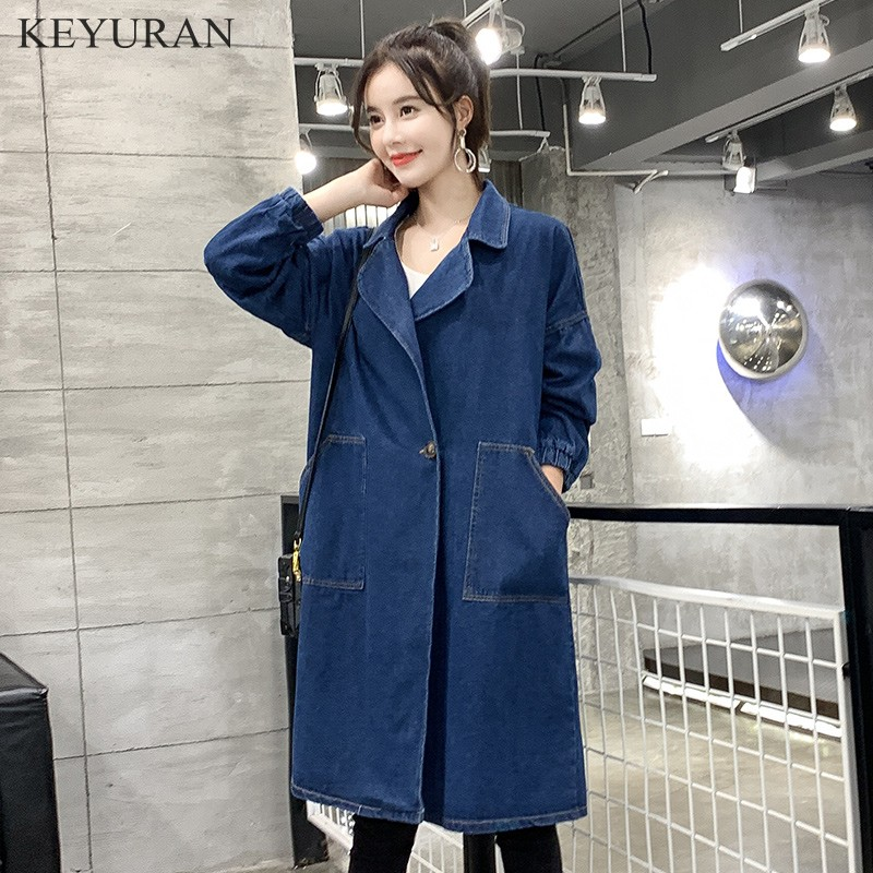 Women's Denim   Trench   Coats Vintage Long Sleeve Loose Female Jeans Basic Coat Casual Patch Girls Outwear Plus Size XL-3XL L2861