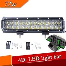 4D ЛИНЗЫ свет бар двурядных 12 Дюймов 72 Вт светодиодные панели для offroad грузовик ATV 4x4WD 36 Вт 54 Вт 72 Вт 126 Вт 144 Вт auto light bar