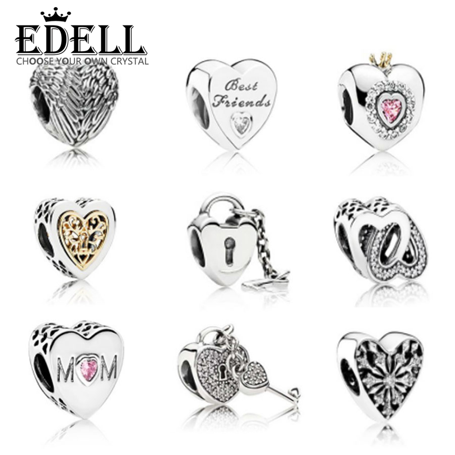 EDELL Heart Shape Charms Fit DIY Bracelet Full Crystal Heart CZ Crystal Diy Beads fit Bracelet DIY Accessories Valentine's Gift