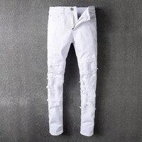 Artı Boyutu Yeni Erkekler Marka Giyim Beyaz Yıkanmış Mens Biker sıkıntılı Jeans Skinny Slim Biker Jeans Denim Uzun Pantolon Ripped kot