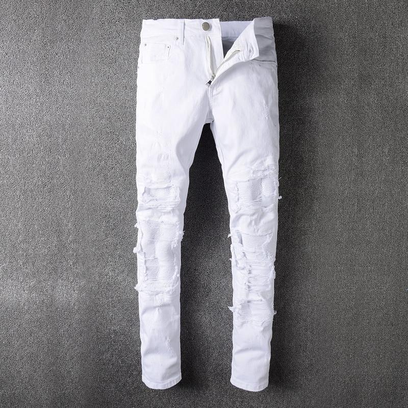 Plus Size New Men Brand Clothing White Washed Mens Biker Distressed Jeans Skinny Slim Biker Jeans Denim Long Pants Ripped Jeans streetwear mens jeans ripped denim full pants new famous brand biker jeans men high quality slim patch jeans plus size 1604
