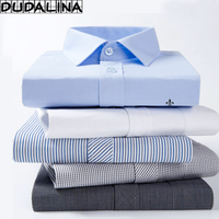 DUDALINA 2017 Men Casual Long Sleeved Solid Shirt Slim Fit Male Social Business Dress Shirt Pocket