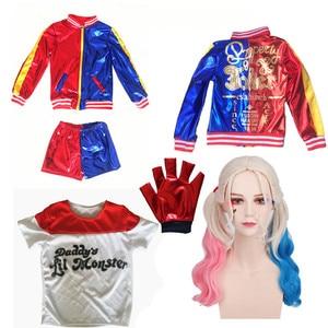 Image 5 - Harley Quinn Costumi Cosplay Per I Bambini Delle Ragazze Purim Vestito Giacca con la Parrucca Di Natale Guanti