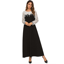 Elegant Lace Abaya Plaid Muslim Maxi Dress Long Sleeve Robe Gowns Moroccan Arab Islamic Middle East Turkey Clothing