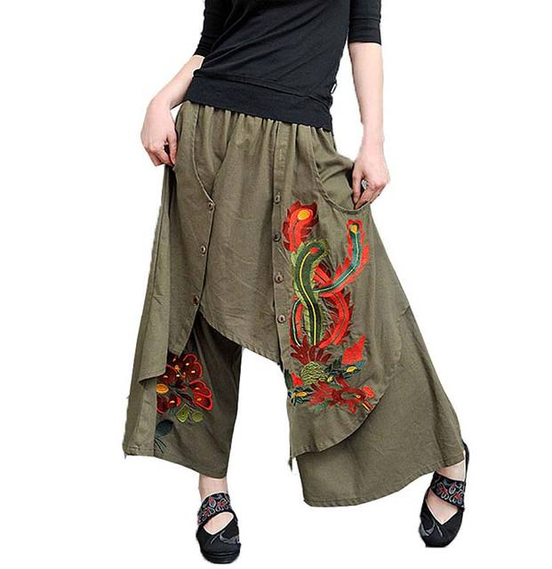 2016 New women Vintage 70s ethnic wide leg pant autumn spring Chinese style green black trousers free shipping BL1447