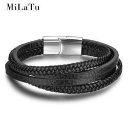 Milatu 22cm men black genuine leather bracelet multi layer handmade braided leather bracelet magnetic buckle wristband.jpg 250x250