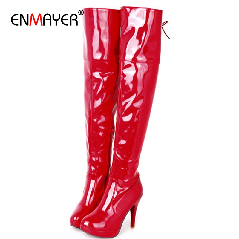 ENMAYER Big size 34-43 Women Knee Boots Sexy High Heels Platform Round Toe Buckle Over the Knee Boots Winter Shoes Women CR674 enmayer sexy red shoes woman high heels bowties charms size 34 47 zippers round toe winter over the knee boots platform shoes page 4