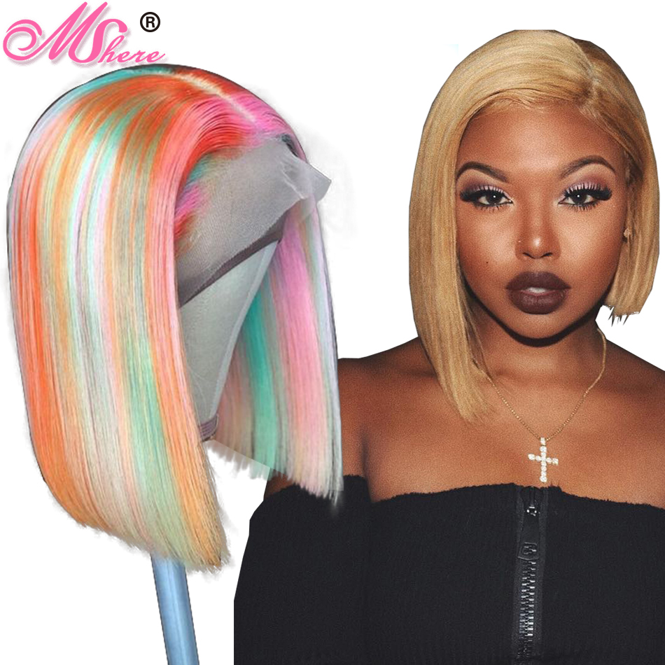 13x4 Mshere 613 Lace Front Human Hair Wigs Brazilian Straight Bob Wig for Black Women Blond