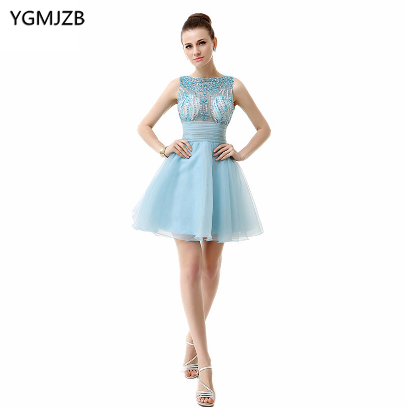 Little Dress Blue Cocktail Dresses 2018 A Line Cap Sleeves Bling Beaded Crystal Tulle Party Dress Backless Homecoming Dress