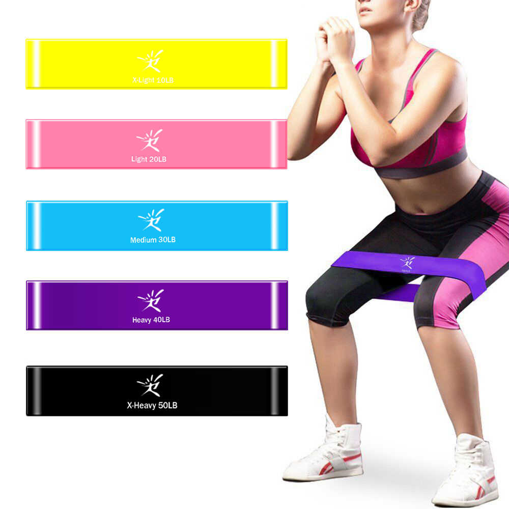 Elastic Resistance Bands 4 Level Exercise Loop Bands Gym Fitness Training Yoga Colorful