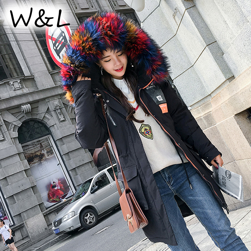 2017 Women Parkas long Coats Warm Winter Down Jackets thick Female Overcoat oversized fur collar casual outerwear slim clothing high grade big fur collar down cotton winter jacket women hooded coats slim mrs parkas thick long overcoat 2017 casual jackets