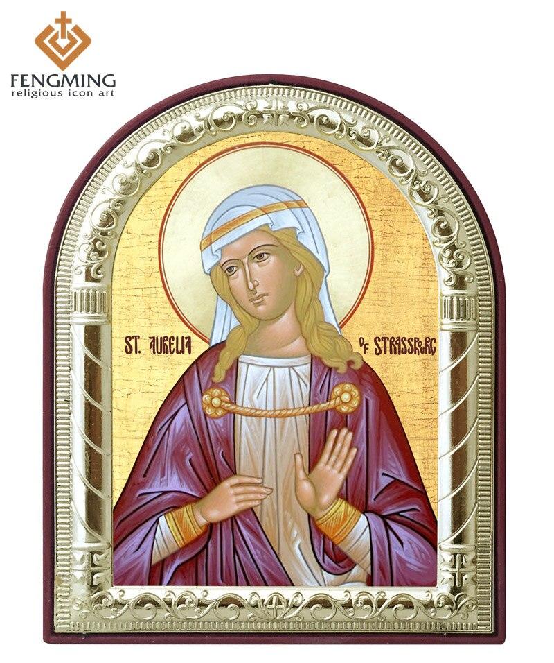 Iconos religiosos imágenes en marco Santo Aurelia pated metal ...