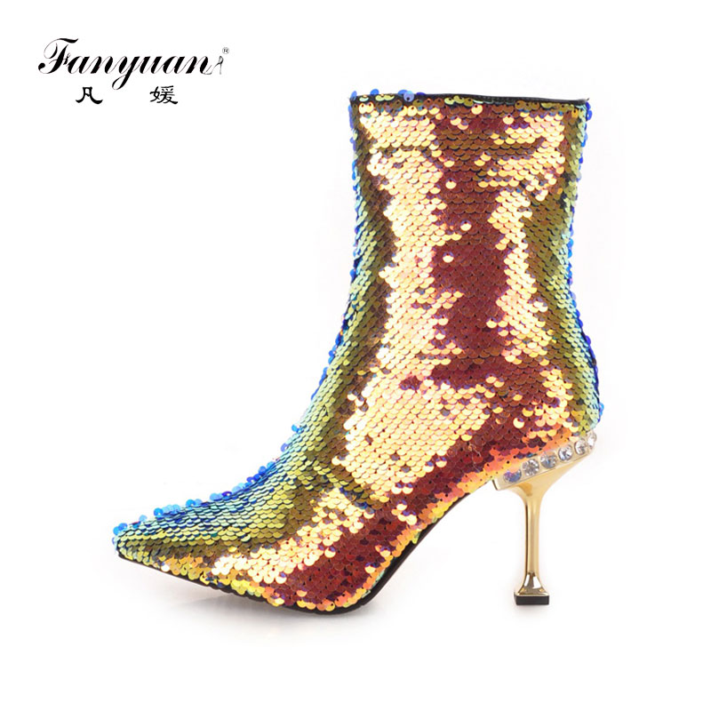 Fanyuan winter Pointed Toe warm Shoes Sequined Cloth women Boots Women Solid Crystal mid-calf Boots Sexy Thin high Heel boots 2017 winter female high heeled shoes solid high quality women casual boots zipper women mid calf boots pointed toe martin boots