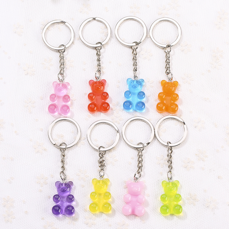 1pc Resin  Keychain  Pendants Flatback Glitter Gummy Bear Charms Colorful  Car Handbag Keyrings