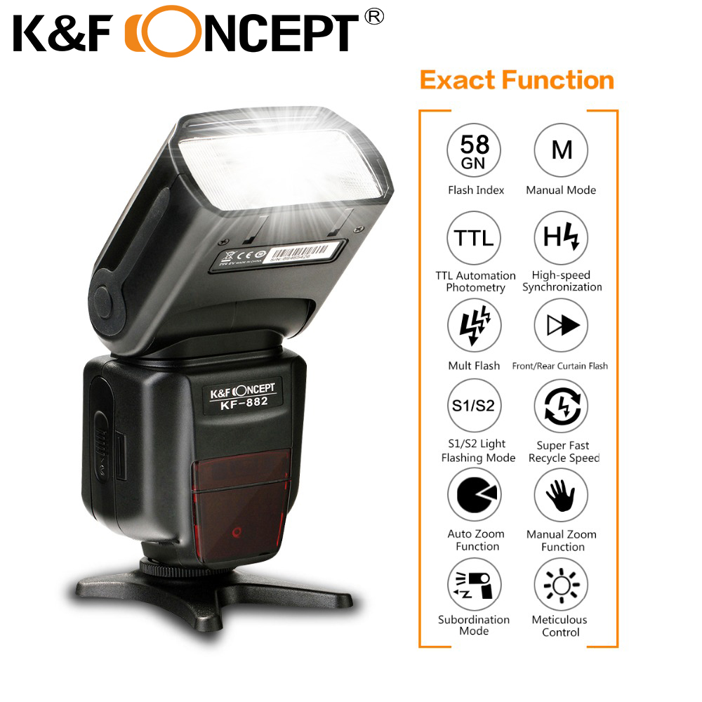 K&F CONCEPT KF-882 Flash Speedlite e-TTL High Speed Sync HSS 1/8000s GN58 S1 S2 2.9s Recycle Master Slave for Canon DSLR Cameras