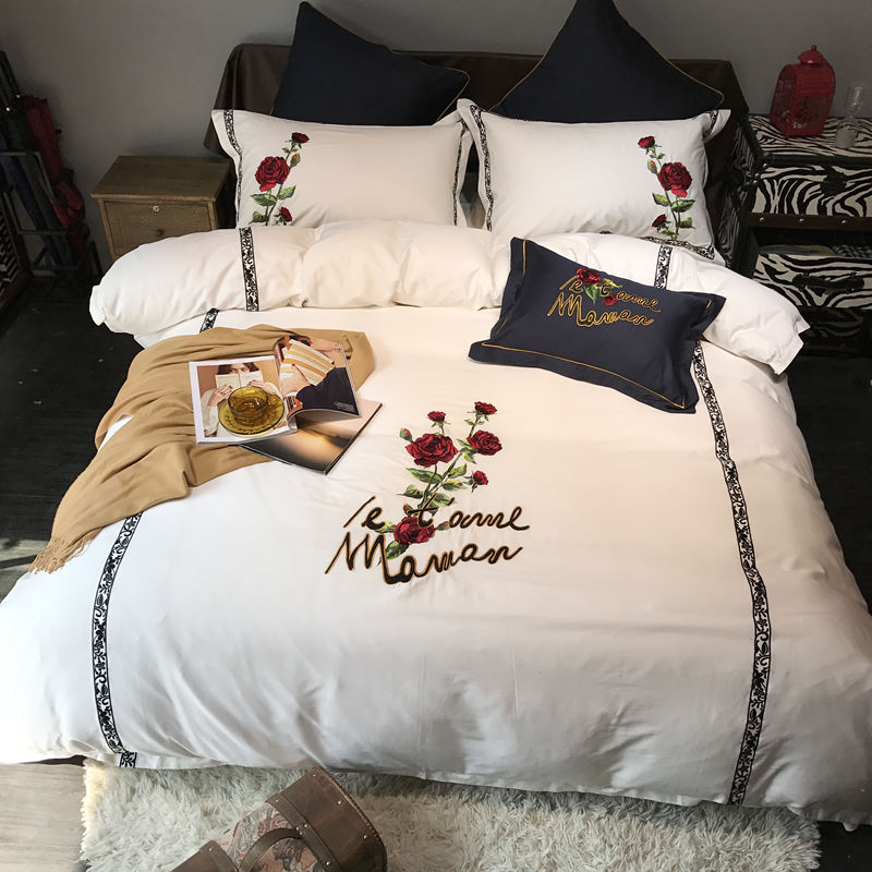 White black bedding set egyptian cotton king queen size rose embroidered font b cute b font