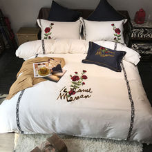 White black bedding set egyptian cotton king queen size rose embroidered cute bed set bed sheet set Duvet cover Pillow shams