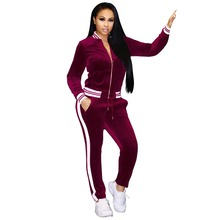 ALPHALMODA Winter Women Knitted Diamond Sweater Pants Suit Tidy V-collar Twisted