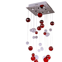 50cm Modern home lighing Glass Red Bubble Crystal Ceiling Light Lamp Lighting Fixture ZL329