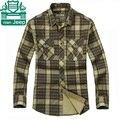 NianJeep Autumn 2015 Full Sleeve Plaid 100% Cotton casual cotton Shirts Turn Down Collar Army Green Khaki camisa masculina