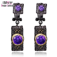 DreamCarnival 1989 Vintage Purple Zircon Drop Earrings For Women Black Gold Color Hip Hop Luxury Costume