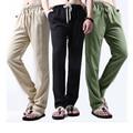 Corredores Hombres Pantalones Casuales de color caqui Ropa de Ocio de Verano Para Hombre de Lino Pantalones de Cordón Fresco Pantalones Delgados de Moda