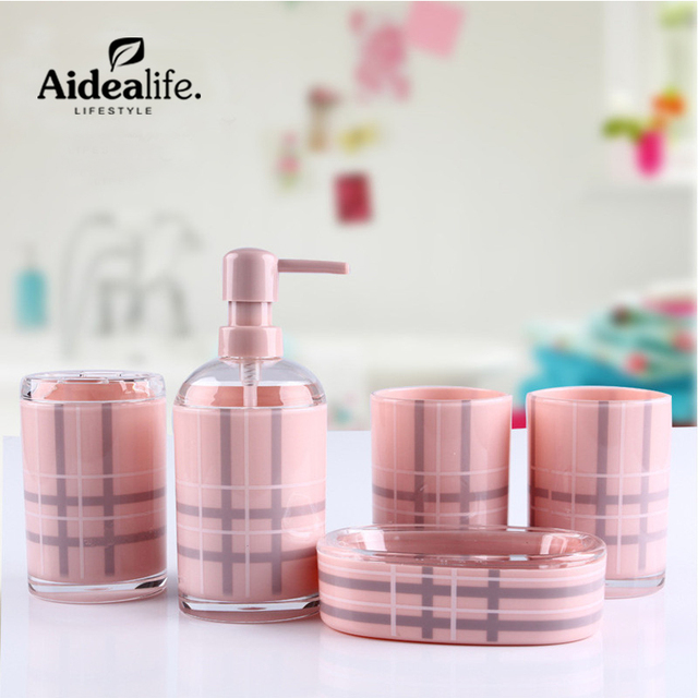 Superieur Bathroom Accessories Sets 5 Pcs Toothbrush Holder Soap Dish Travel  Containers Pink Bathroom Designs Luxury Cup