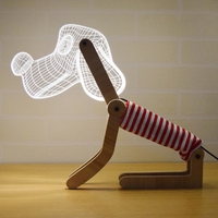 3D Cute Dog Table Lamp Wood Support Acrylic Lampshade USB Dimming Adjustable Posture LED Desk Light Children Kids Birthday Gift