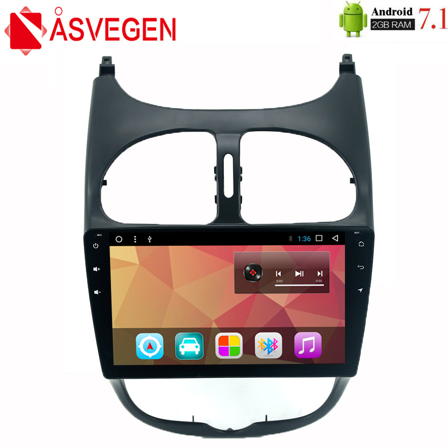 Asvegen 9 inch Android 7.1 Car Stereo Player For <font><b>Peugeot</b></font> <font><b>206</b></font> Touch <font><b>Screen</b></font> Car Audio Multimedia Dvd Radio GPS Navigation System image