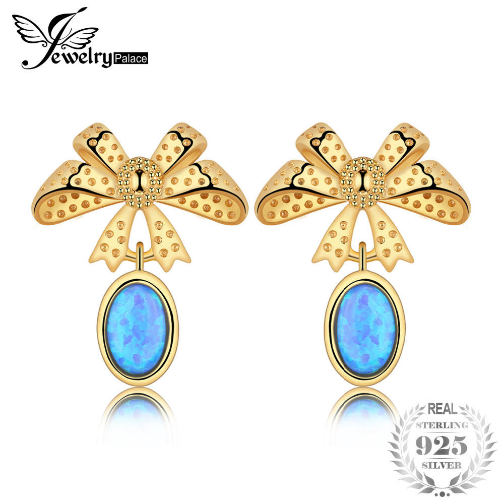 Jewelrypalace Lovely Bow 0.9ct Created Black Opal Drop Earrings 925 Sterling Silver Nice Gift For Girl Woman Hot Selling