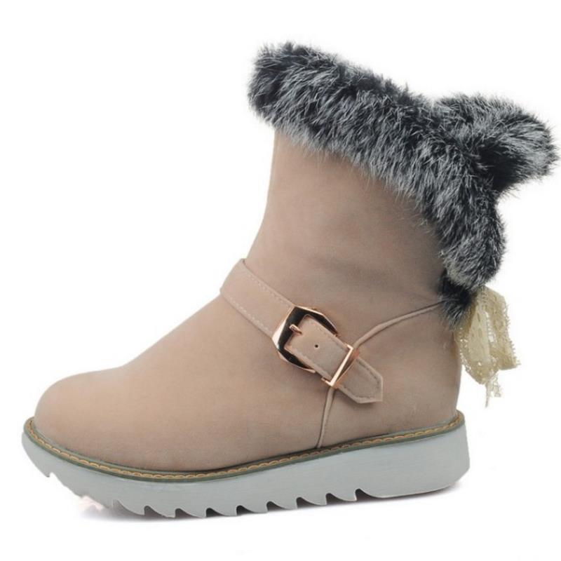3ca43b8a38d Corto Invierno Frío Kemekiss Medio Calzado Mujeres Gruesos Botos Nieve  Mujer En Zapatos Con Beige Pisos amarillo ...