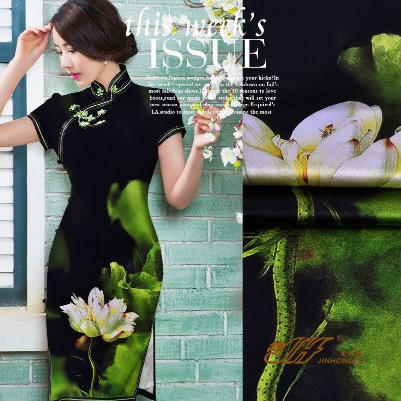 2016 19 Momme Europe Soie Tissu Tissu D'impression 120 Large Cheongsam Lourd Satin Stretch Blanc D'encre.