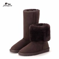 2017 Boots Austilian Woman Winter Snow Boots Fur Cow Suede Mid High Heigh Plush Flat Heel