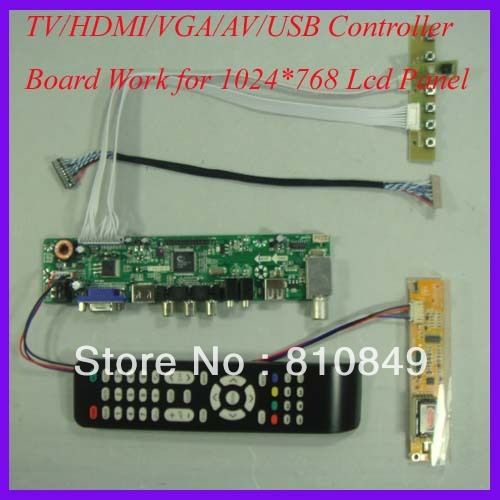 TV/HDMI/VGA/AV/USB/AUDIO LCD trabalho Placa driver para 1024x768 1 lâmpada CCFL Lcd Painel
