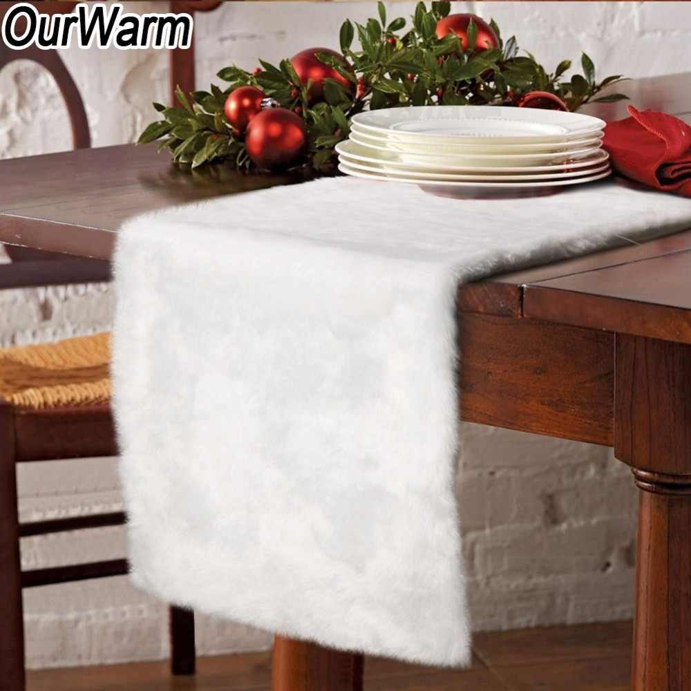 15f03845fdbe OurWarm Luxury Faux Fur Table Runner 38x183cm Thick White Table Cover  Christmas Presents Holiday New Year
