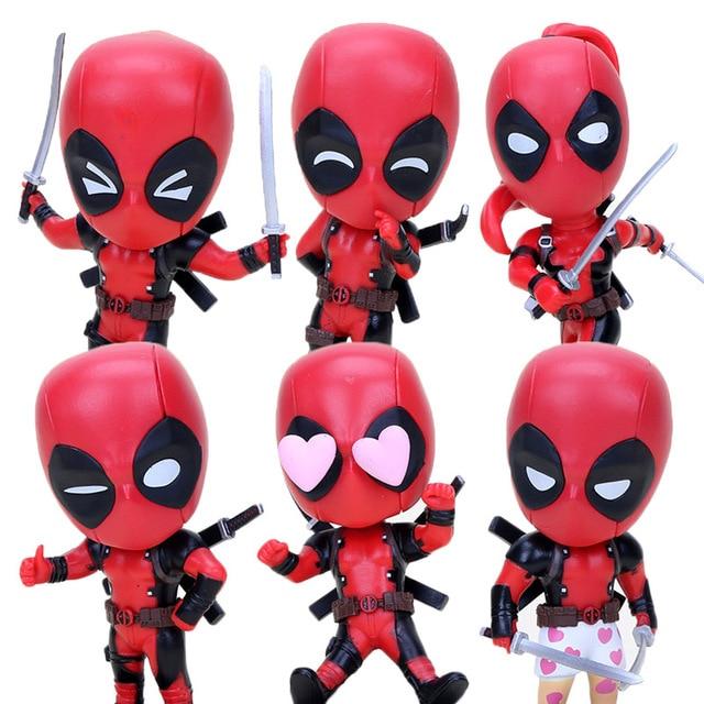 3 pçs/lote 10 cm figura de ação de Super-heróis BobbleHead decoração PVC Action Figure Toy Deadpool Deadpool com espada cosbaby