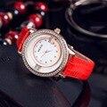 Группа KEZZI 30 м Водонепроницаемый Алмаз Масштаб Персонализированные Циферблат Кожаный Ремешок Япония Движение Женские Часы Wtudents Кварцевые Часы