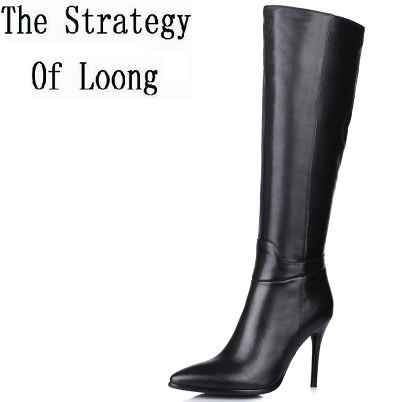 New Arrival Pointed Toe Thin Heel Genuine Leather Pure Color Women Half Boots Winter Short Plush Zipper Knee High Boots ZY170911 2018 new arrival fashion winter shoe genuine leather pointed toe high heel handmade party runway zipper women mid calf boots l11