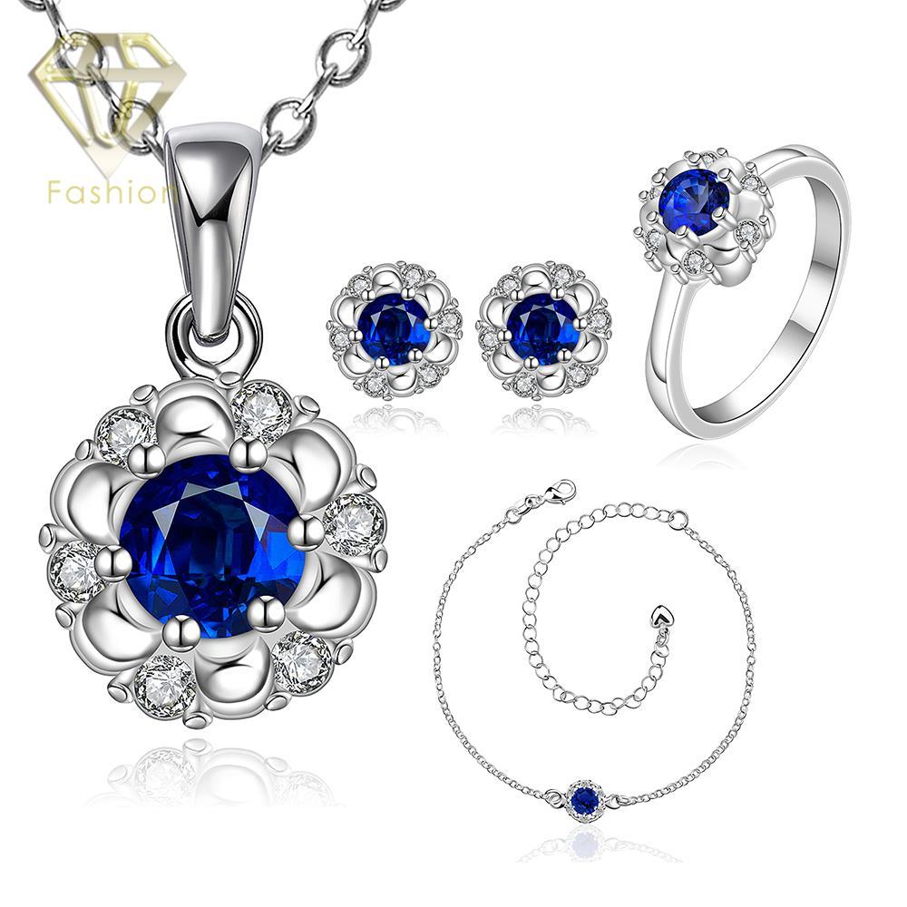 Değer Satış 4 Adet Kolye Küpe ile Halhal Yüzük Düğün Aksesuarları Gümüş Kaplama Mavi Avusturyalı Kristal