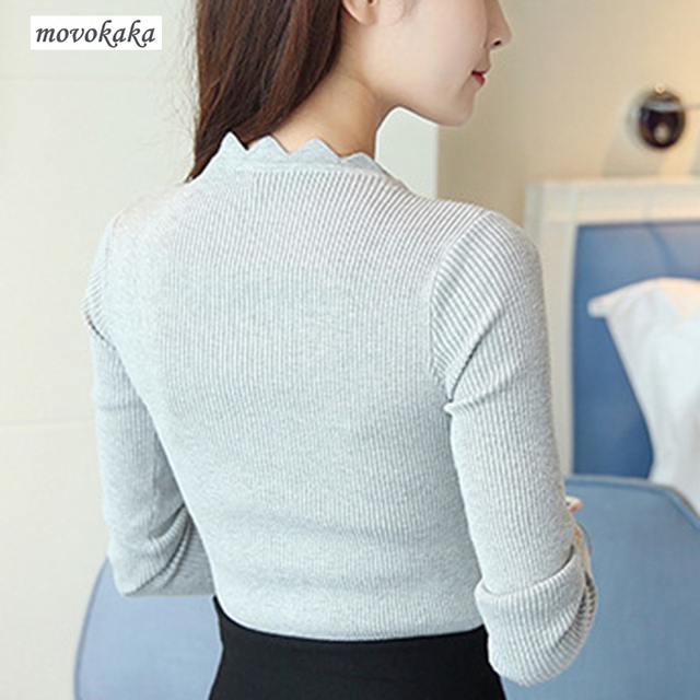MOVOKAKA Sweaters 2018 New Womens Sweater Winter Long Sleeve Butterfly Neck Sweater Female Knitted Pullover Solid Sweaters Women