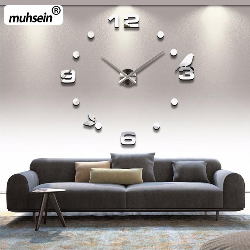 Muhsein 2017 New Modem Clocks Diy Black Cat Bird Quartz Wall Clock Home Decor Living Room