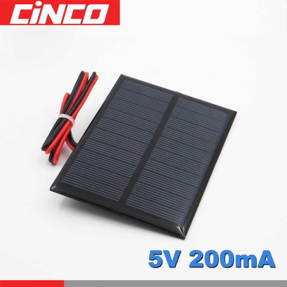 5 فولت 200mA 1 واط واط تمديد سلك لوحة طاقة شمسية الكريستالات السيليكون شاحن بها بنفسك شاحن بطارية صغيرة صغيرة الشمسية خلية كابل لعبة 5 فولت فولت