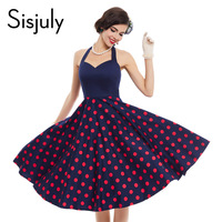 Sisjuly women rockabilly vintage dress summer pin up polka dots 1950s patchwork sleeveless sexy ladies vintage dresses new 2017
