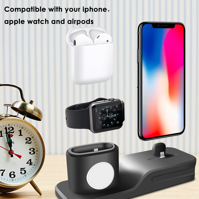 3 in 1 Stand Holder for Apple Watch Desktop Charging Stand Case for Airpods Charging Case for iPhone Accessories